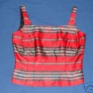 Womens ANN TAYLOR Striped Tank Top sz 6 Silk Christmas Holiday