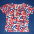 Womens Take Two Patriotic July 4th American Flag Print Shirt S