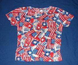 Womens Take Two Patriotic July 4th American Flag Print Shirt S