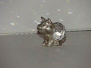 Adorable Pewter Crystal Pig Collector Figurine Spoon(?)