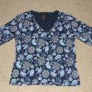 Womens The Limited Stretch Blue Paisley Shirt sz M EUC