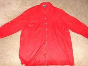 Womens Lauren by Ralph Lauren 3/4 Sleeve Shirt 2X Silk