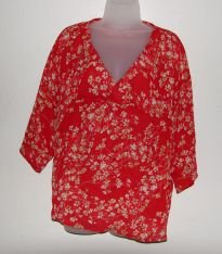Women's Investments Red Floral Print Shirt Empire Waist Sheer sz S/M