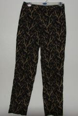 Womens Ann Taylor Black/Gold Floral Pants sz 3 EUC