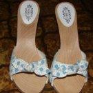 Womens Lulu Guiness London Blue/White Polka Dot Heels NEW sz 7
