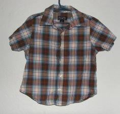 Boy's The CHildren's Place Plaid Button Down Shirt sz 3T