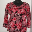 Oh! Mamma Pink/Black Floral Long Sleeve Maternity Shirt sz Medium EUC