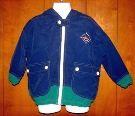 Boys Kitestrings Blue/Green Nautical Hooded WIndbreaker Jacket sz 4 VGC