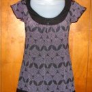 Juniors Teenie Weenie Black & White Polka Dot Print Shirt sz Small