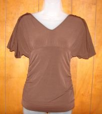 WOmens/Jrs Tempted Brown Deep V-Neck Ruched Shirt sz Small CLUB