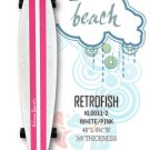 Longboard - RetroFish Tail Beach Board - White/Smooth Pink KL0011-2