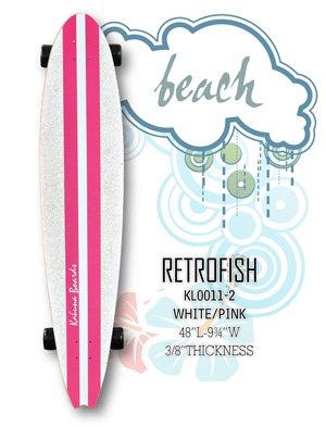 Longboard - RetroFish Tail Beach Board - White/Smooth Pink KL0011-2