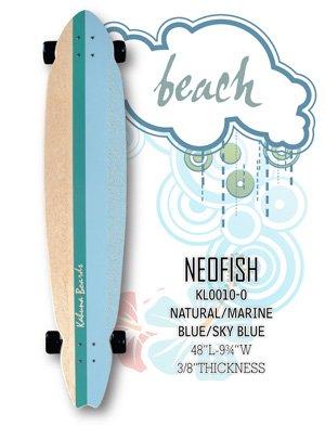 Longboard - NeoFish Tail Beach Board - Natural/Marine Blue/Sky Blue KL0010-0