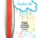 Surfboard - Red Classic Coral (Longboard) KSF008-1