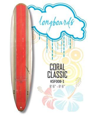 Surfboard - Red Classic Coral (Longboard) KSF008-1