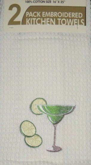 Cocktail and Lime Embroidered Kitchen Towels