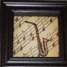 Saxophone Shadowbox Wall Decor Glass Front
