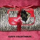 Cosmetic Bags Set Zebra Stripes and Burgundy