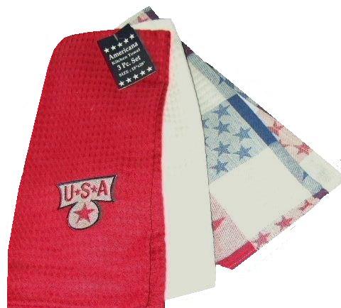 4th of July Patriotic Towels Americana 3 pc. Kitchen Towel Set