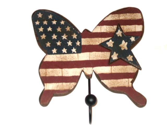 Americana Patriotic Butterfly Wall Hook