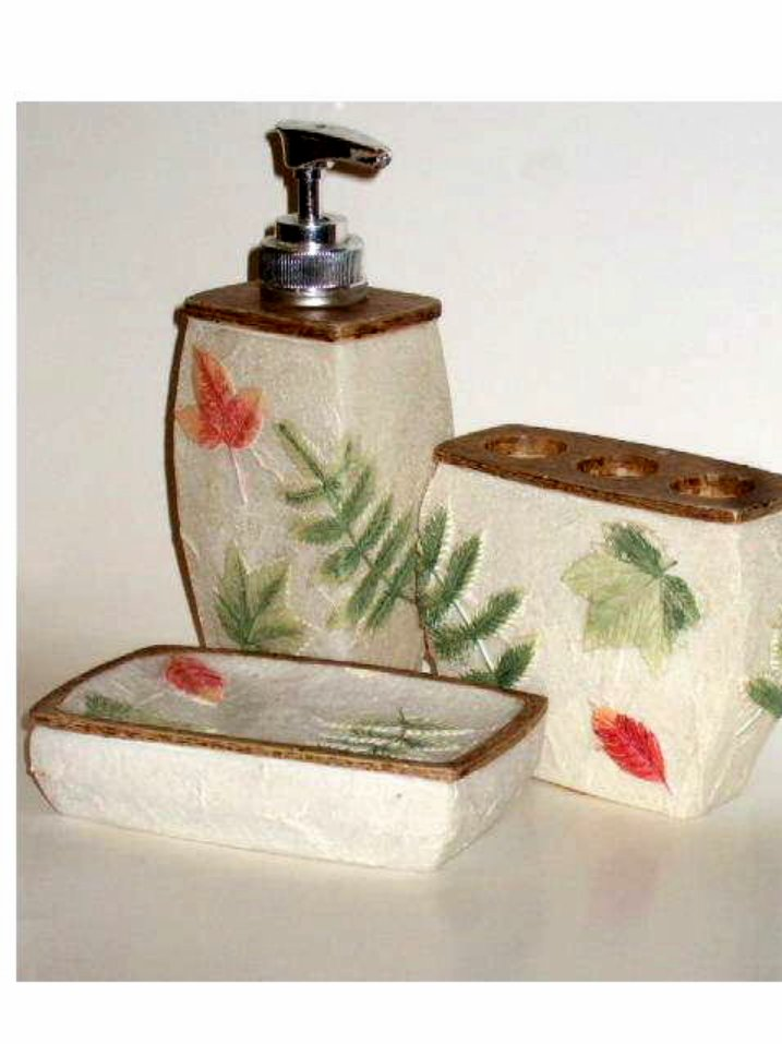Leaves Ferns Bath Accessories Set Soap Dish Dispenser Toothbrush Holder