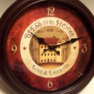 Country Primitive Wall Clock Bless This Home