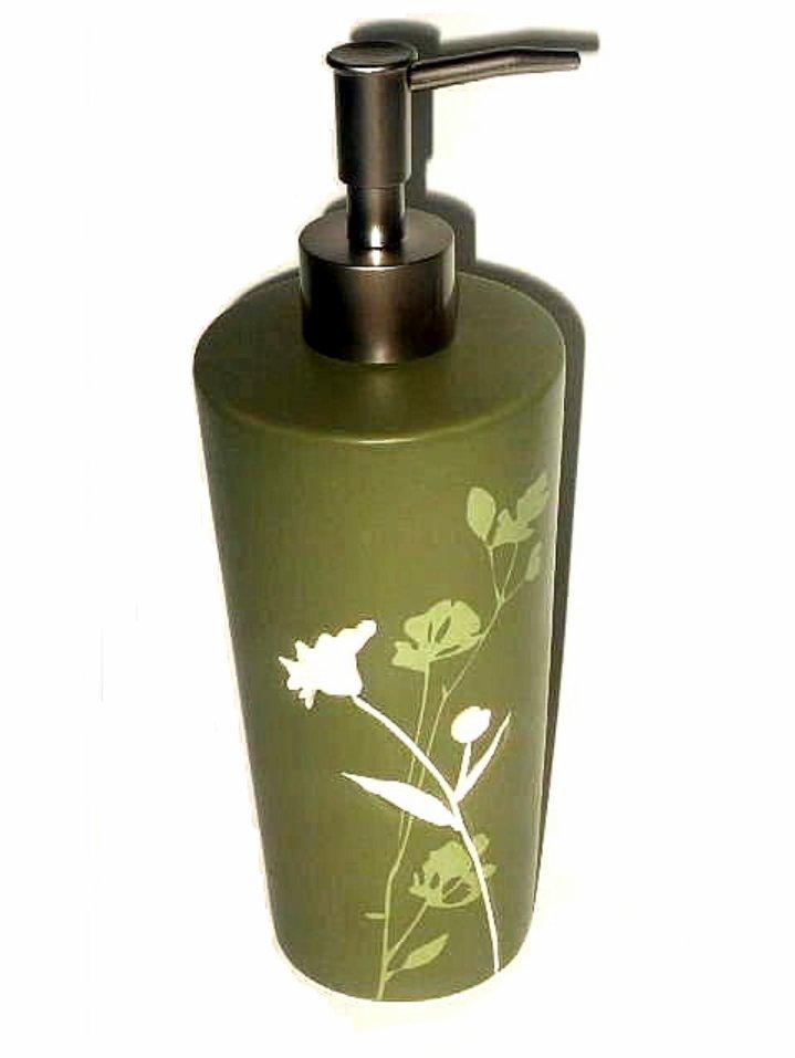 Olive Green White Floral Lotion Dispenser Soap Pump