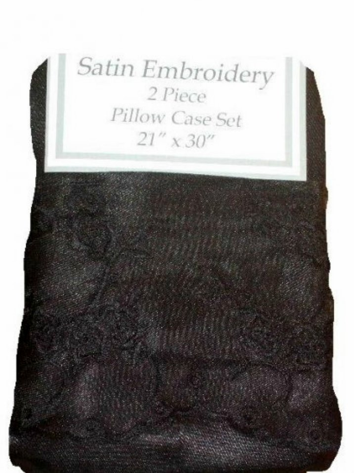 Black Satin Pillow Cases Embroidered Shams
