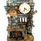 Wolf Mantel Clock Fireplace Cabin Decor