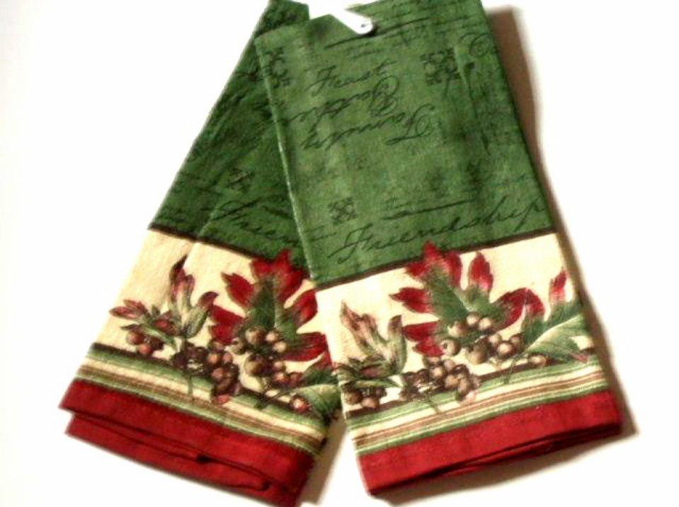 Oak Leaves Acorns Sentiment Kitchen Towels Set