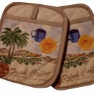 Coffee Themed Pot Holders with Pockets French Roast