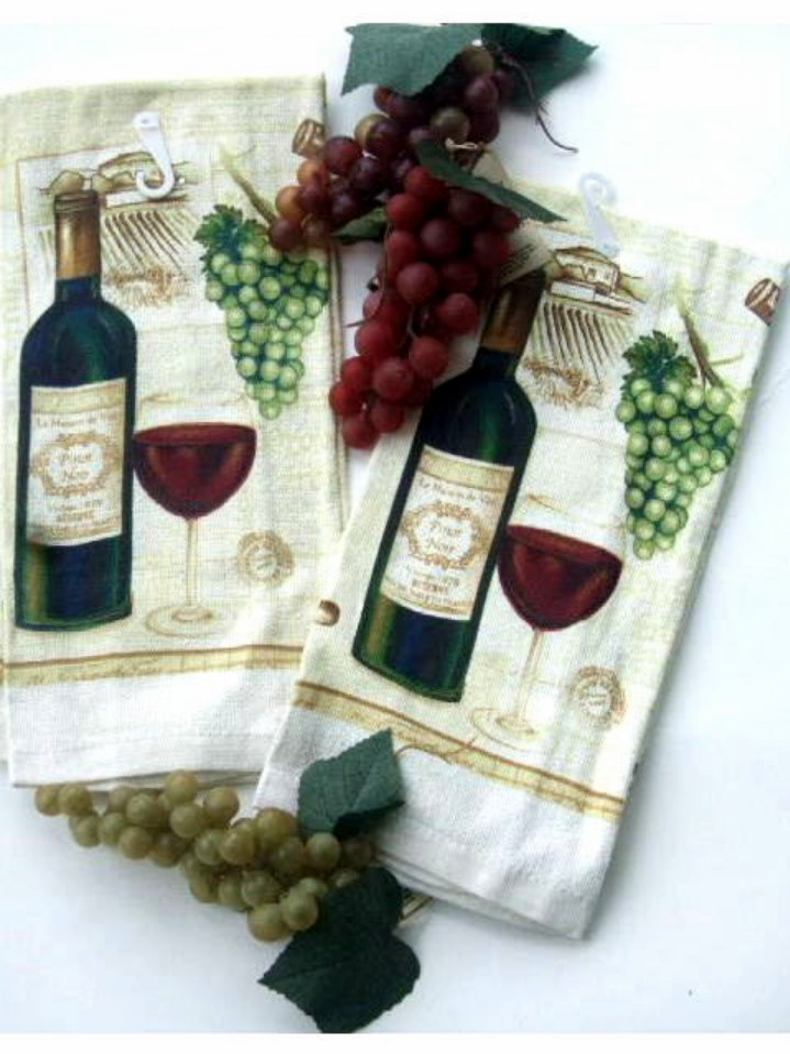 Wine and Grapes Kitchen Towels Set of 2