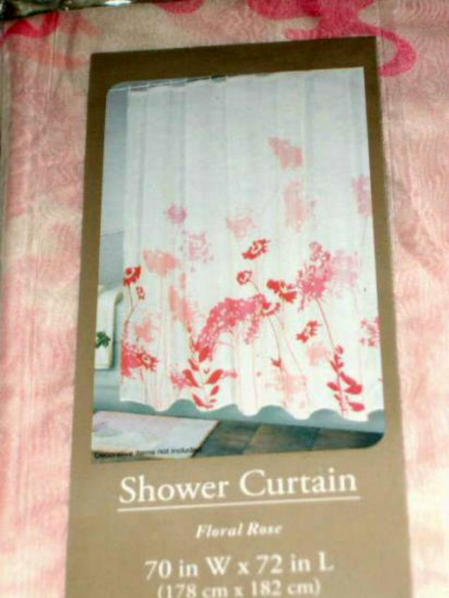 Floral Rose Pink Fabric Shower Curtain
