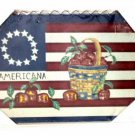 4th of July Plaque Patriotic Stars and Stripes with Apples