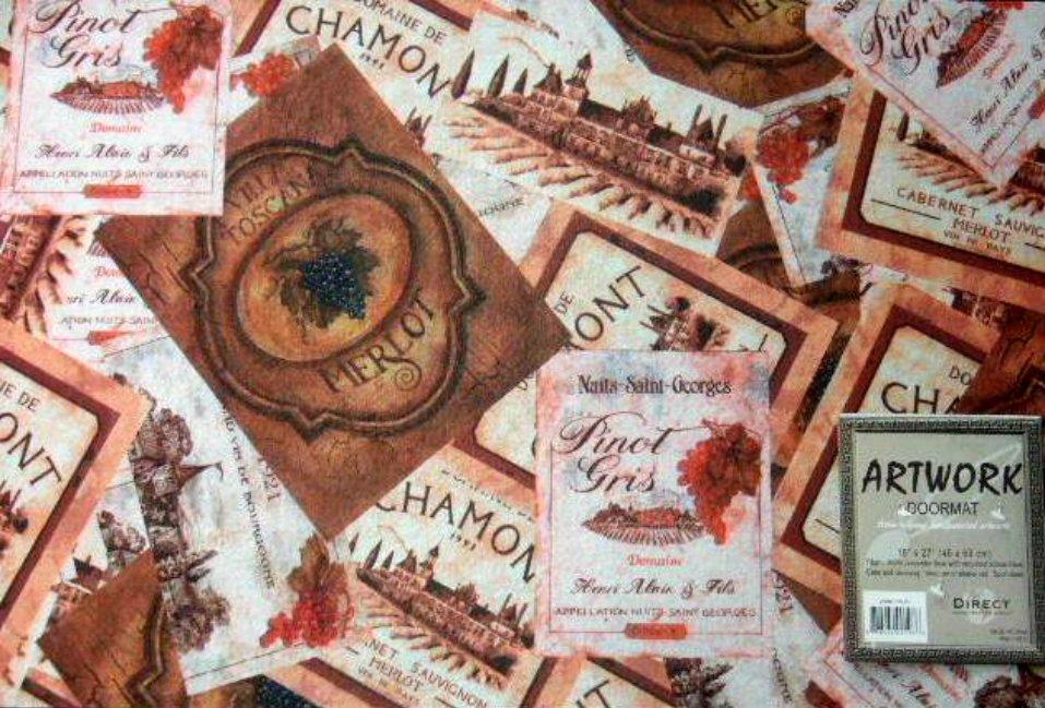 Wine Labels Kitchen Rug Tuscan Door Mat