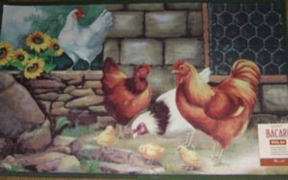 Country Roosters Sunflowers Kitchen Rug Entry Mat
