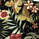 Black Hibiscus Floral Accent Rug Hand Carved Mat