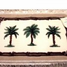 Tropical Palm Trees Carved Accent Rug with Fringe