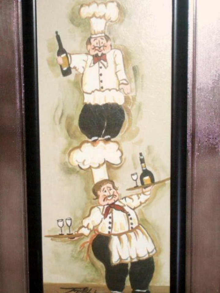 Fat French Chefs Wall Decor Glass Framed