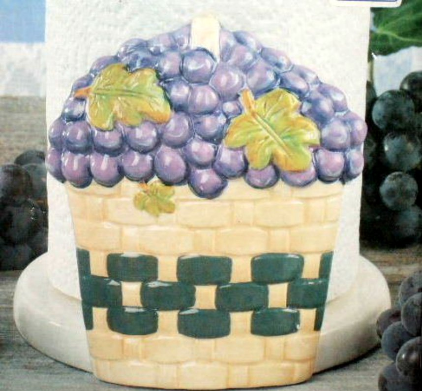 Grapes Paper Towel Holder Large Ceramic Grape Decor
