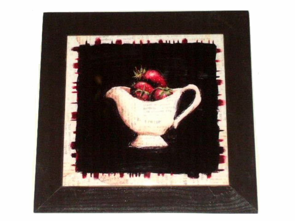 Wood and Tile Strawberries Kitchen Trivet