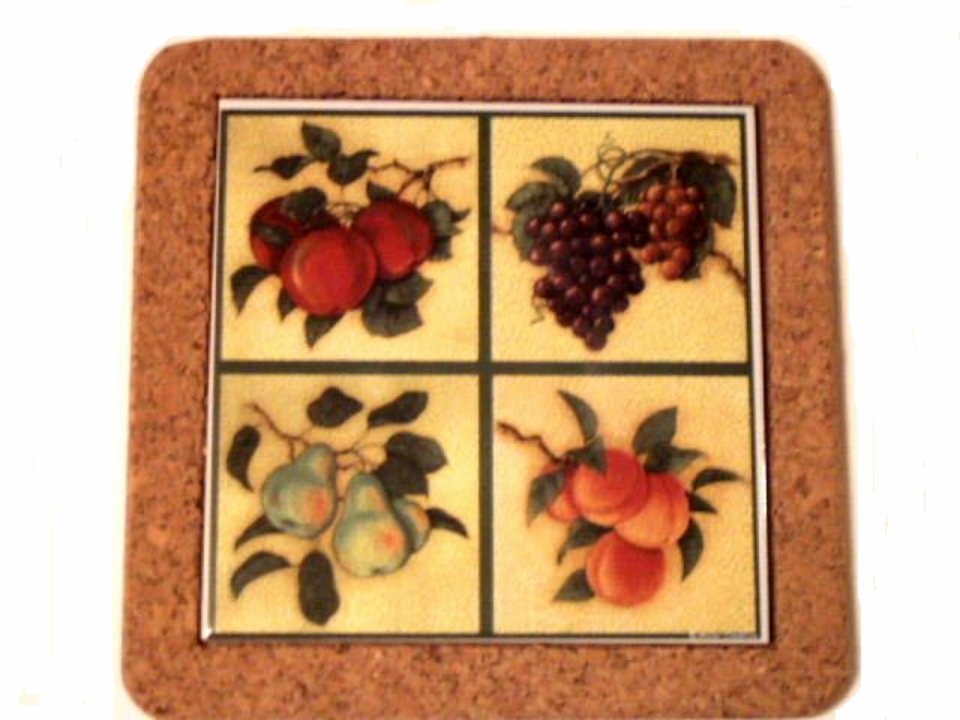 Ceramic Fruit Trivet Apples Grapes Pears Peaches
