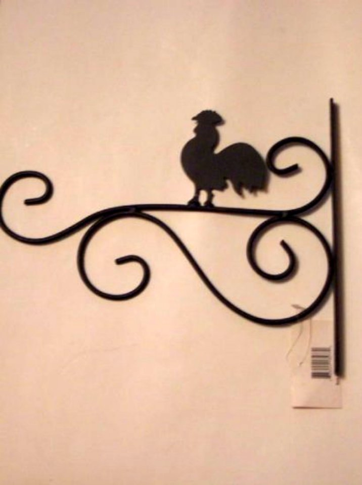 Rooster Plant Hanger Black Metal Country Decor