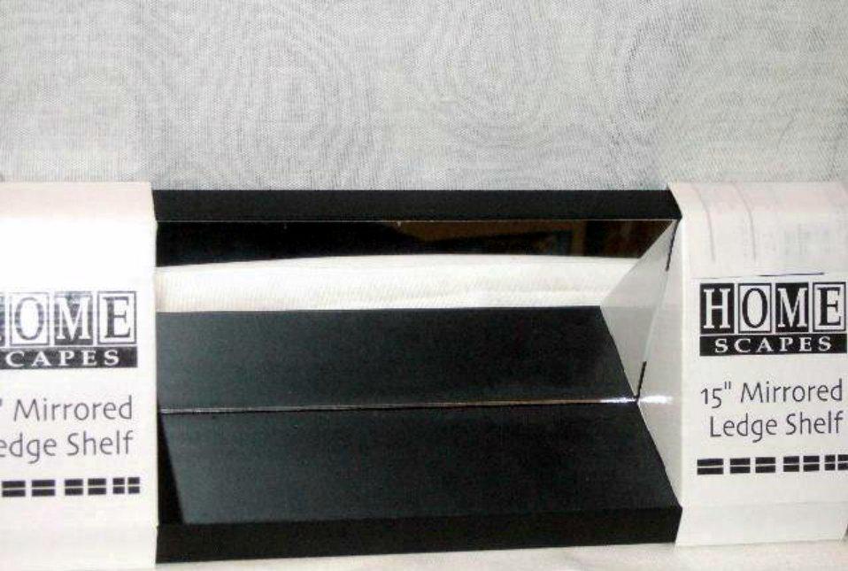 Black Wall Shelf with Mirror Ledge