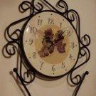 Grapes Black Metal Mantel or Wall Clock