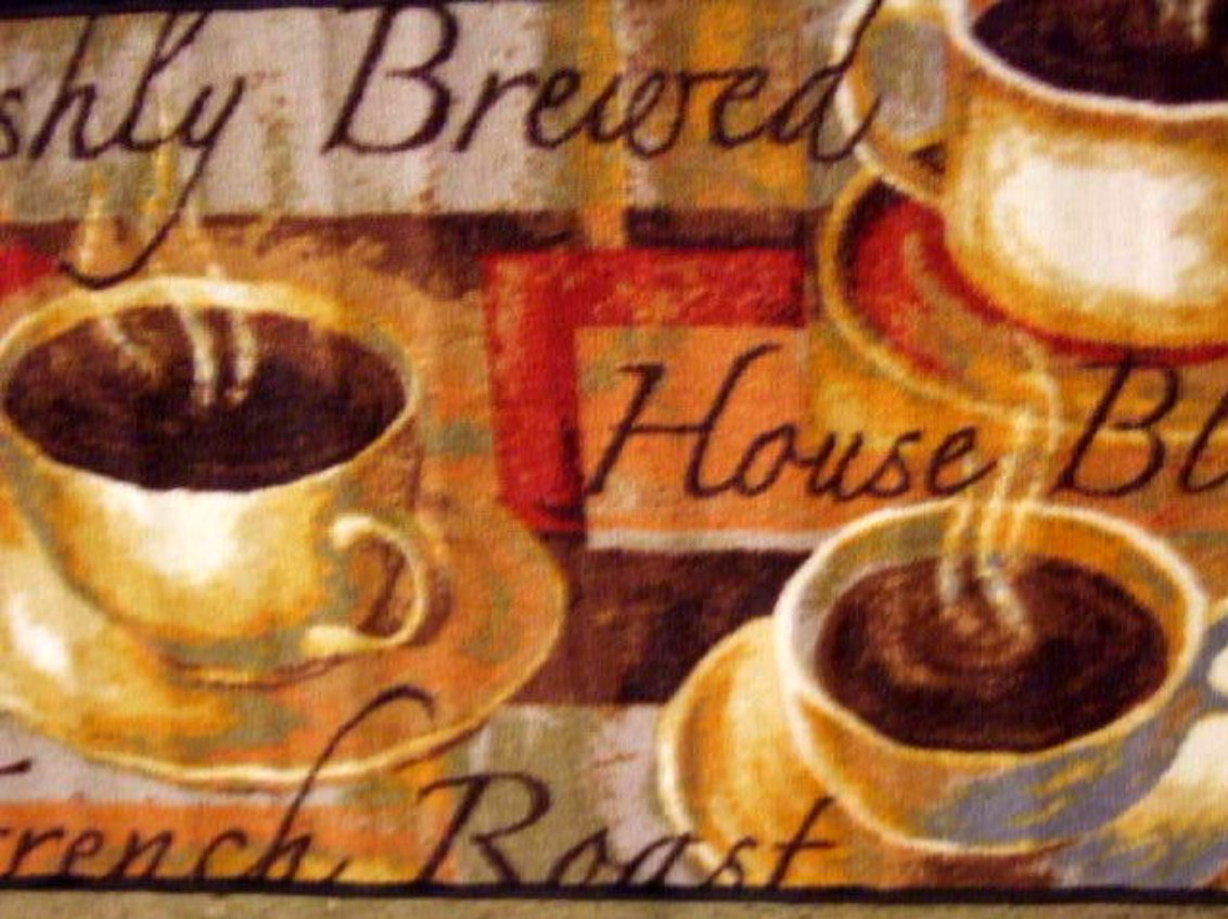 Merveilleux Coffee Themed Kitchen Rug