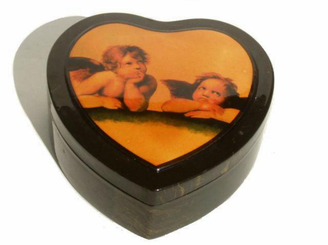 Heart Shaped Angels Keepsake Box