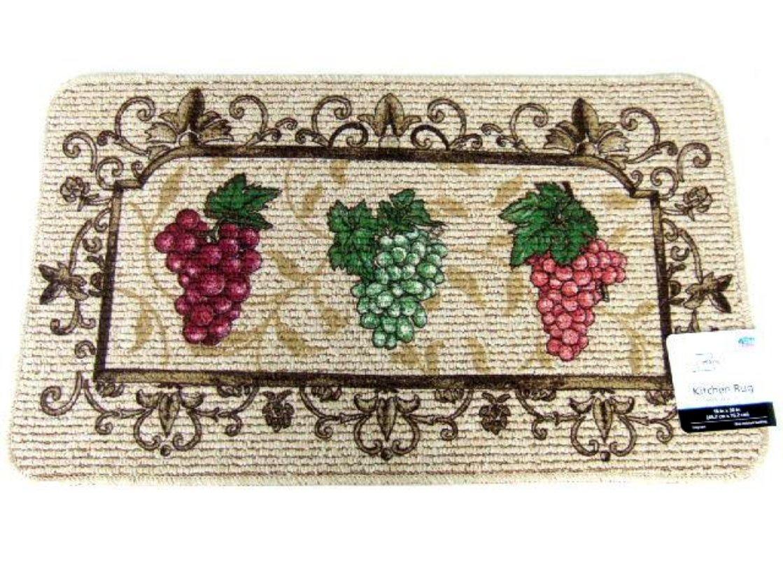 Grape Themed Kitchen Rug Burgundy Green Grapes