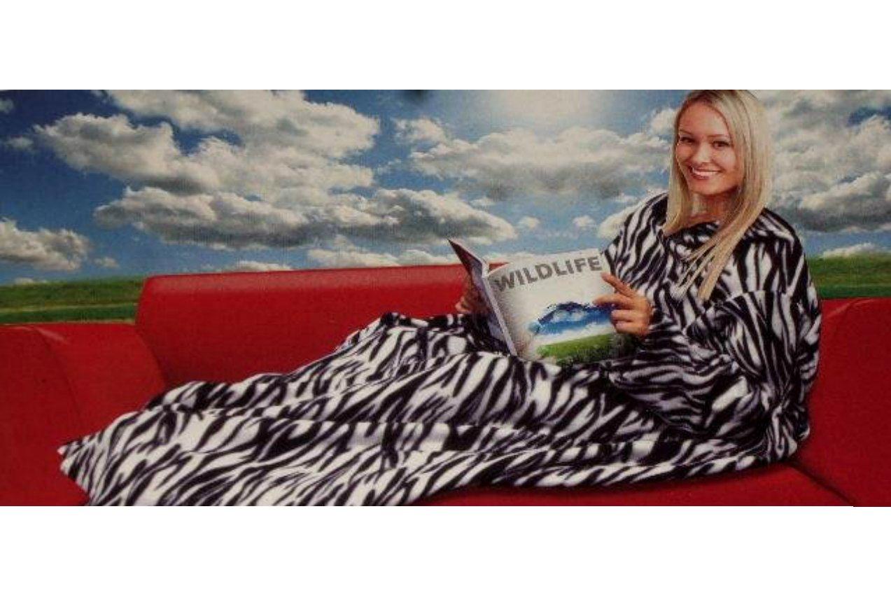 Zebra Stripe Cuddle Blanket with Sleeves