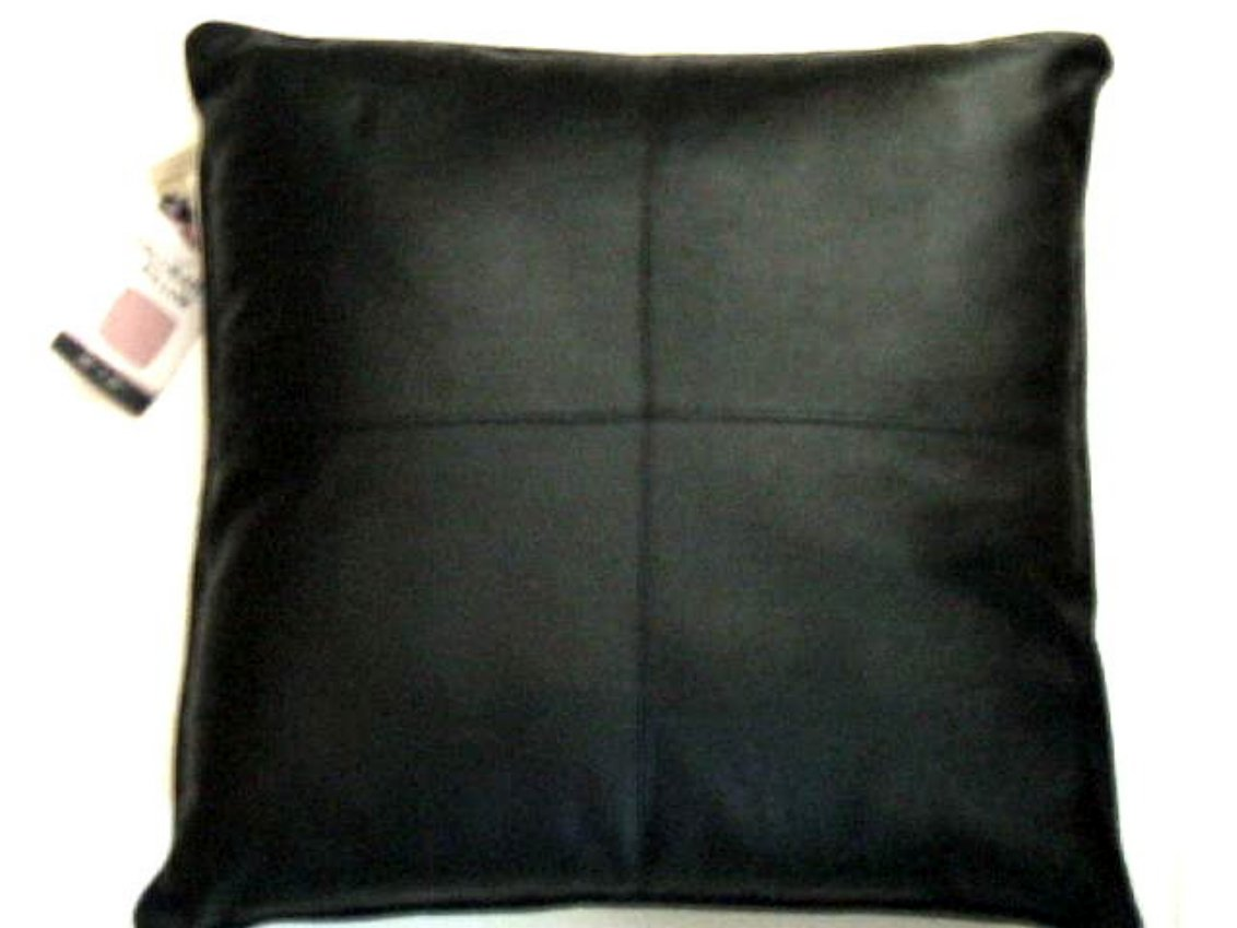 Black Faux Leather Pillow Kennedy Home Collection